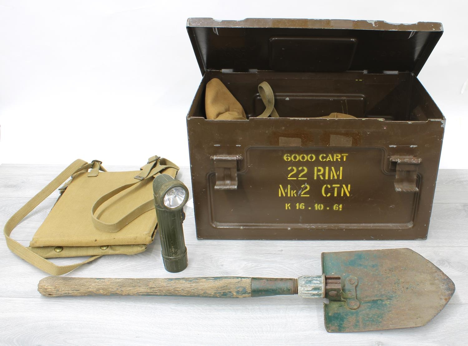 """Military green metal ammunition box, 18"""" wide; Military folding spade, torch and canvas bag"""
