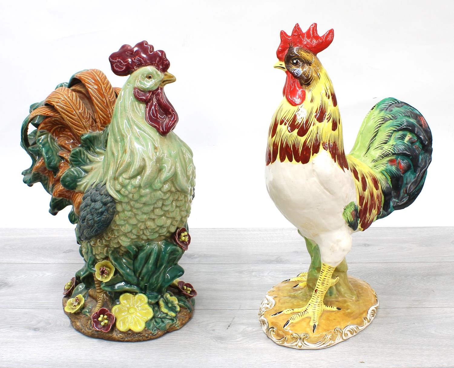 """Two large decorative Italian glazed figures of cockerels, 16"""" high approx (2)"""
