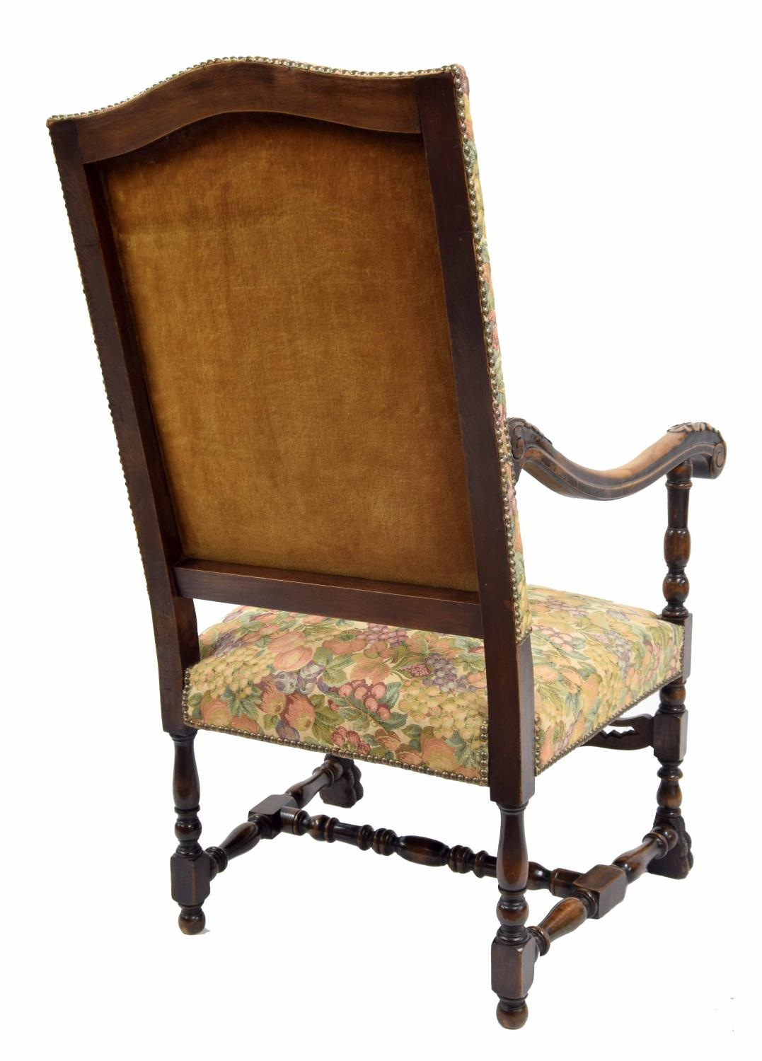 Carolean style upholstered throne armchair, the padded back and stuffover seat with modern - Image 2 of 2