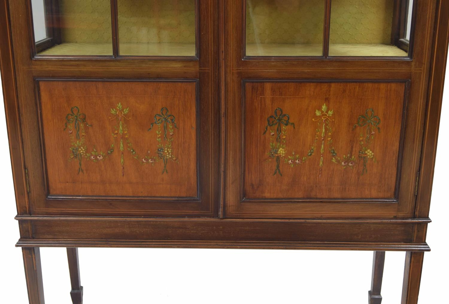 Edwardian mahogany inlaid and painted display cabinet painted with floral harebell garlands with two - Image 2 of 2