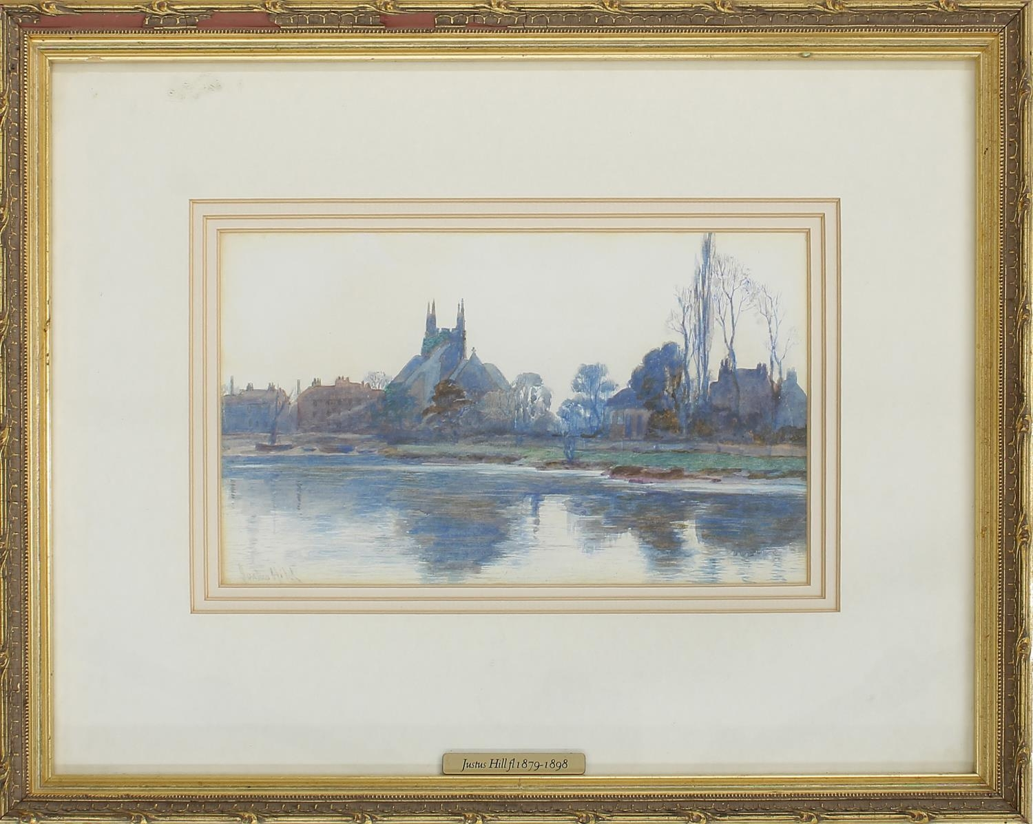 Justus Hill (fl 1879-1898) -Thameside village scene, signed also in inscribed with the artist's
