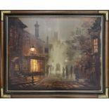 Singer Jones (20th/21st century) -a Victorian street scene depicting shops and figures under