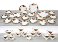 Royal Albert 'Old Country Roses' tea service, comprising twelve cups, eleven saucers, three side