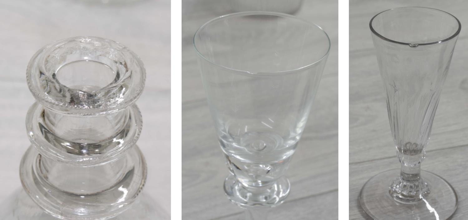 Assorted antique and later glassware;including four decanters, pedestal facet-cut vase and drinking - Image 3 of 4