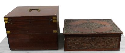 Mahogany storage case for a Dynatron instrument, with upper hinged cover and lower hinged fall