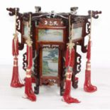 """Decorative Chinese hardwood and decorated glass panelled hexagon hanging lantern,10.5"""" high"""