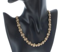 """9ct bicolour choker necklace, 33.7gm, width 11mm, 17"""" long ** with a modern box"""