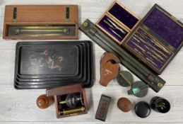 Selection of technical drawing apparatus, including cased set of various compass, two architects