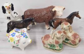 """Large Melba Ware pottery figure of a bull, 10"""" high; together with a Melba Ware pottery figure of"""