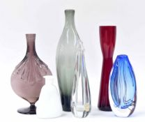 """Six art glass vases to included smoked grey bottle vase, 11"""" high, waisted slim red glass vase,"""