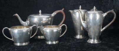 Edward Barnard & Sons for Tiffany & Co. London silver bachelor tea set, comprising teapot, cream jug
