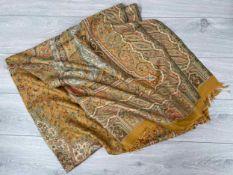"Large silk Paisley design shawl, 90"" x 40"" approx"