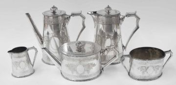 """Elkington & Co. silver plated five piece tea and coffee set,comprising coffee pot8.5"""" high,"""