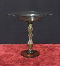 "Large green glass circular tazza, the shallow bowl upon a turned stem and circular foot, 14.5"""