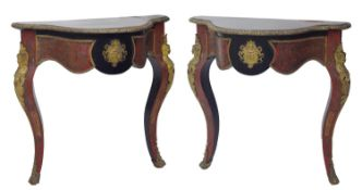 Pair of French Napoleon III boulle ebonised serpentine console tables, with appliedgilt metal