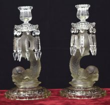 Pair of Baccarat clear and frosted glass candlesticks, the sconces applied with pendant lustre drops