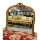 """Victorian style gilt archtop overmantel wall mirror, 54"""" wide, 48"""" high"""