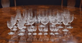 Baccarat 'Nancy' pattern drinking glasses comprising, six champagne coups, five flutes, six small