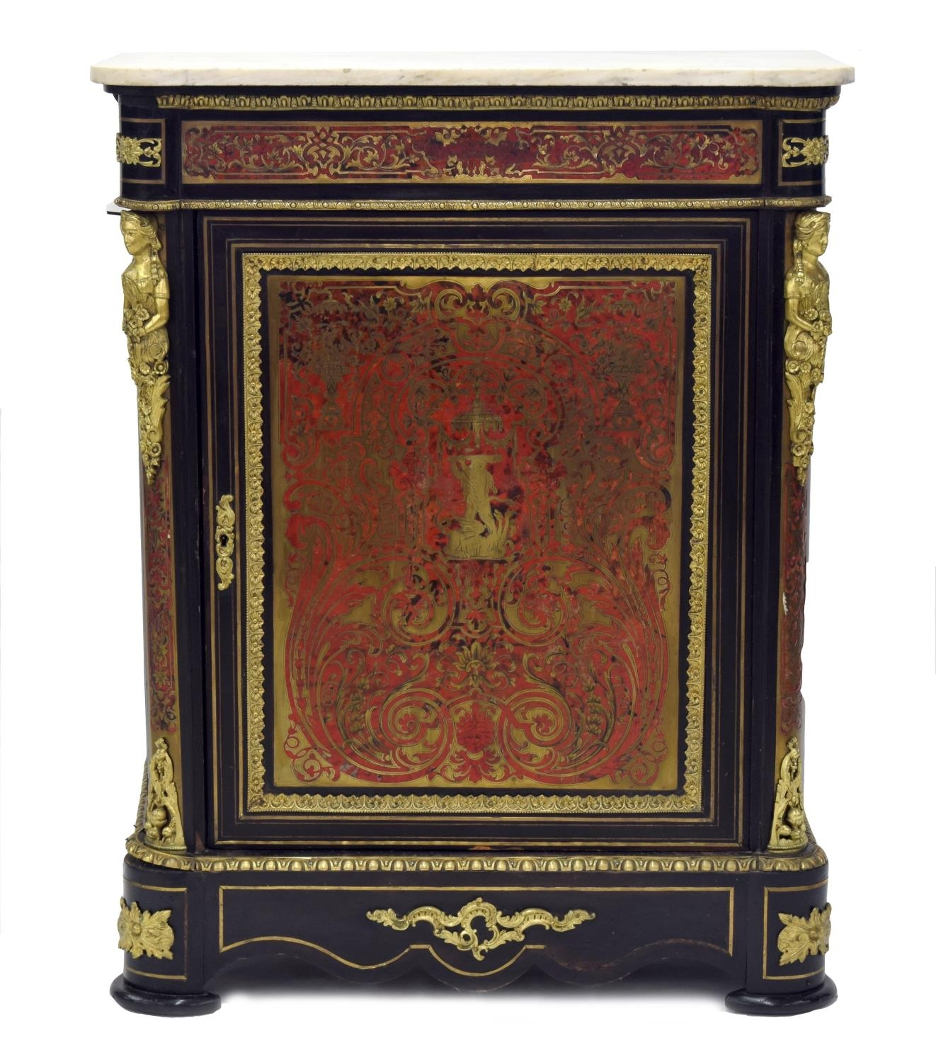 French 19th century ebonised boulle work pier cabinet, the marble top over a single panelled door