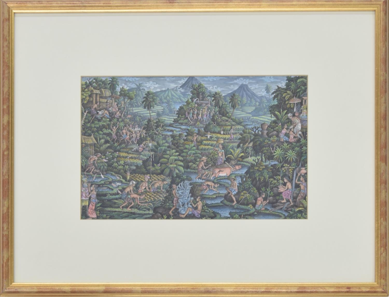 Loj Sutresna (20th century) (Balinese) - jungle scene with figures in a rice field, other figures