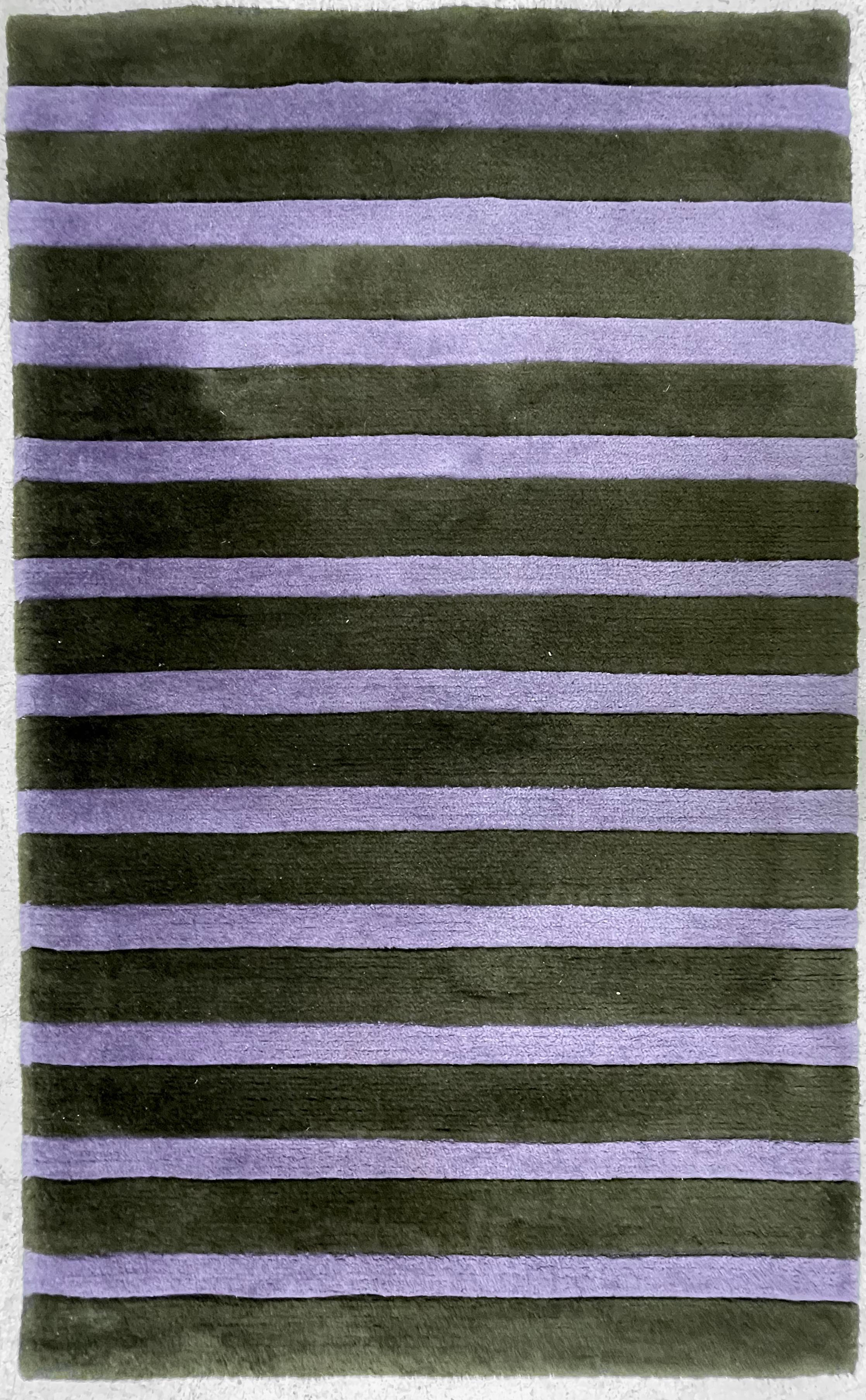 """Chinese Tai Ping purple and black striped rug, 59"""" x 36"""" approx"""