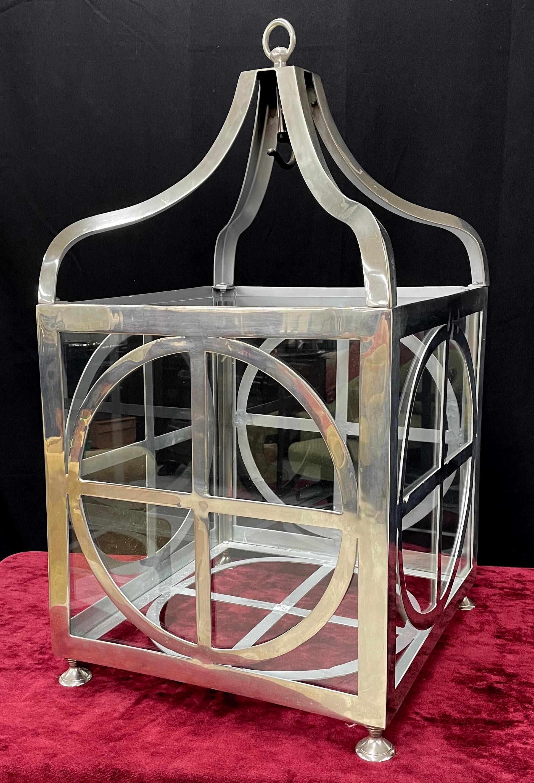 "Modern large chromed metal and glass square lantern, 31.5"" high"