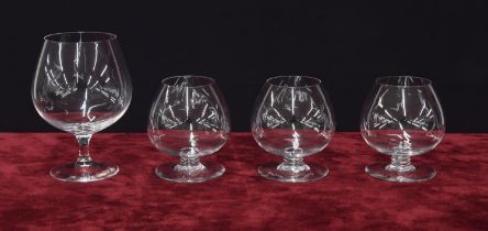 Baccarat - three cognac drinking glasses plus a larger cognac glass, with crown over the letter '