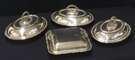 """Pair of oval silver plated entréedishes and covers with beadwork decoration, 12"""" wide; together"""