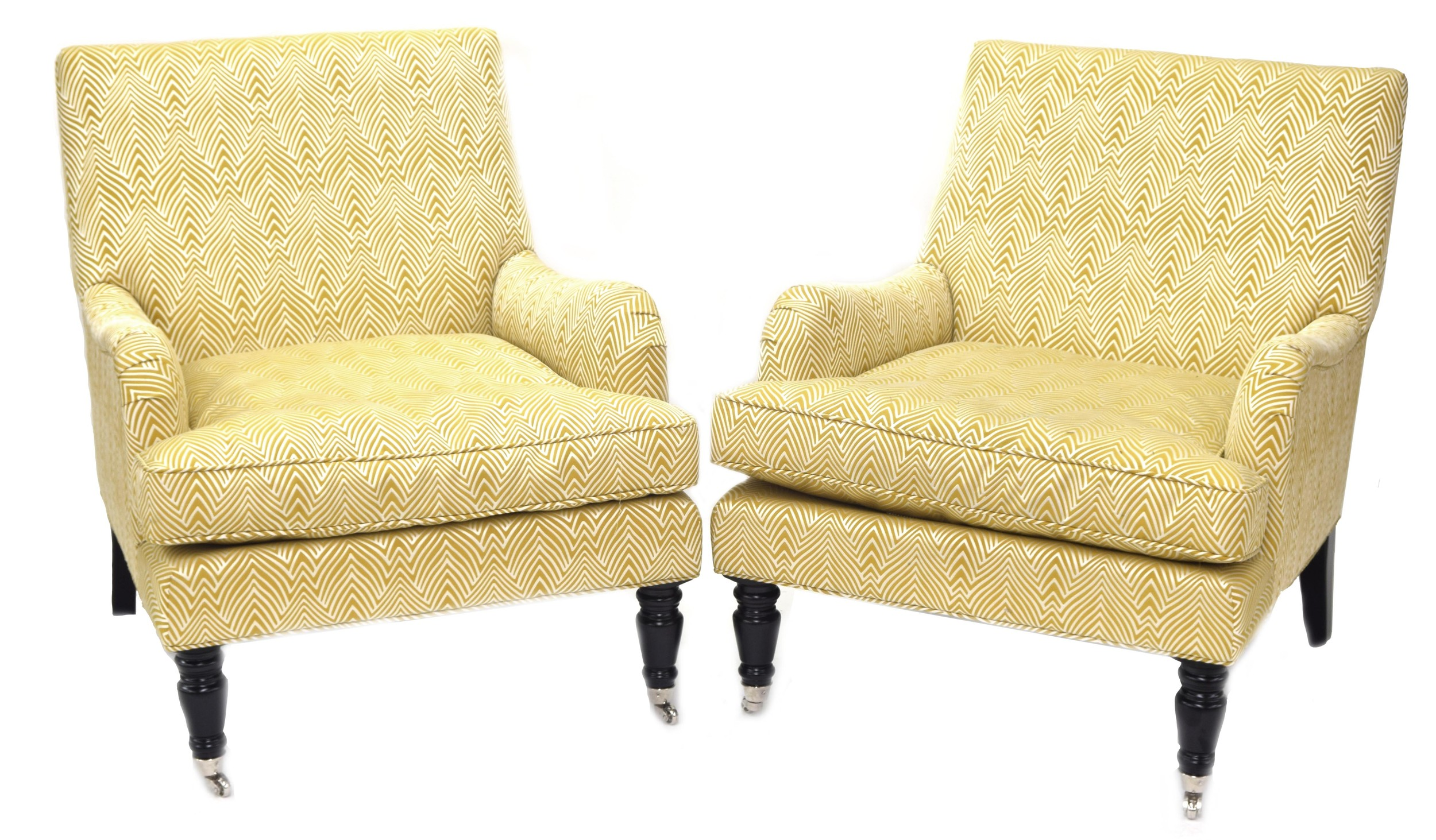 Good pair of India Jane Windsor Plume pale yellow feather pattern upholstered easy chairs, upon
