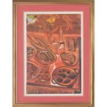 Cecil Skotnes (1926-2009) - 'Rainbow Cuisine' a still life of fish, vegetables, fruit and other