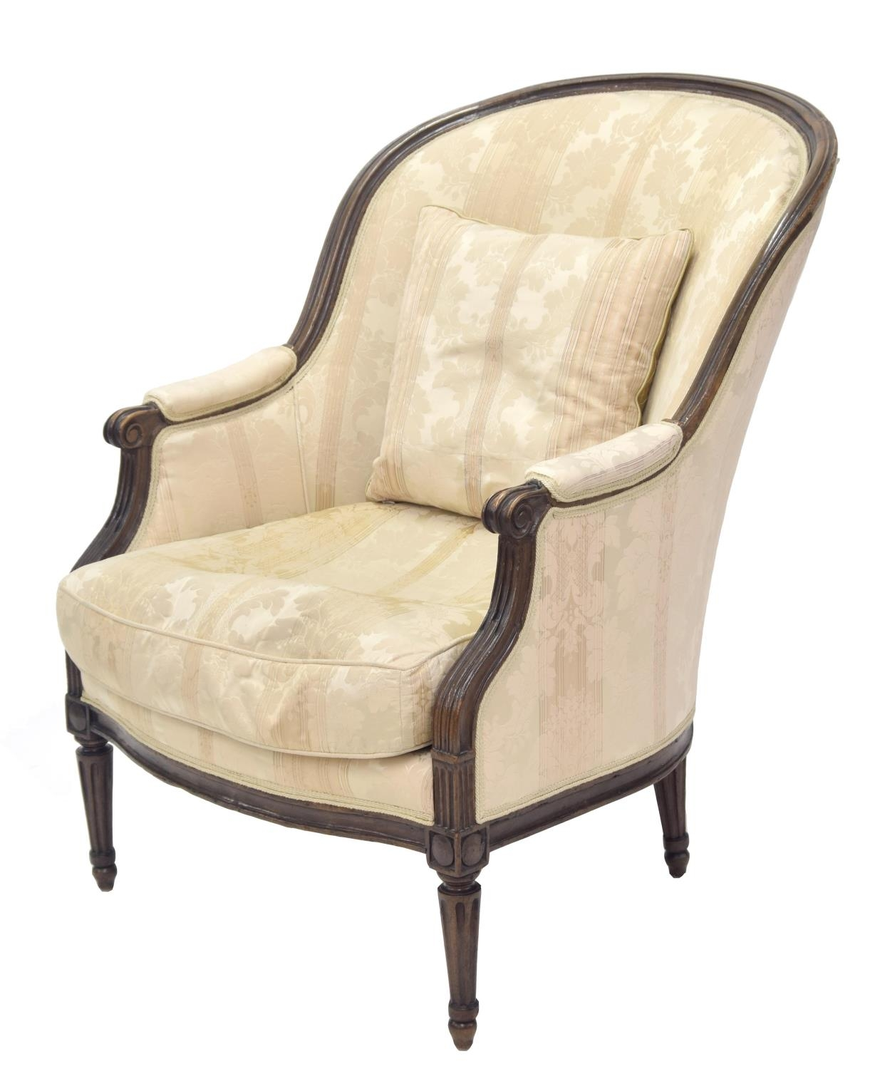 Late 18th century French walnut framed armchair, with damask upholstery with scrolling arms and