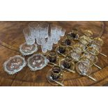Collection of assorted drinking glassesincluding set of six gilt decorated glass coffee cups, 3.