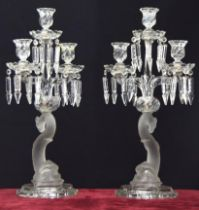 Fine pair ofBaccaratbranch candelabra,having cut lustre drops, each frosted figural pillar formed