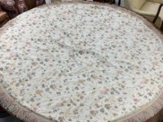 """Pair of round lined table cloths with butterfly designs and fringed borders, 80"""" diameter approx (2)"""