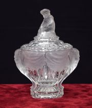 Baccarat clear and frosted glass bonbon dish and cover,with twin moulded elephant's head handles,