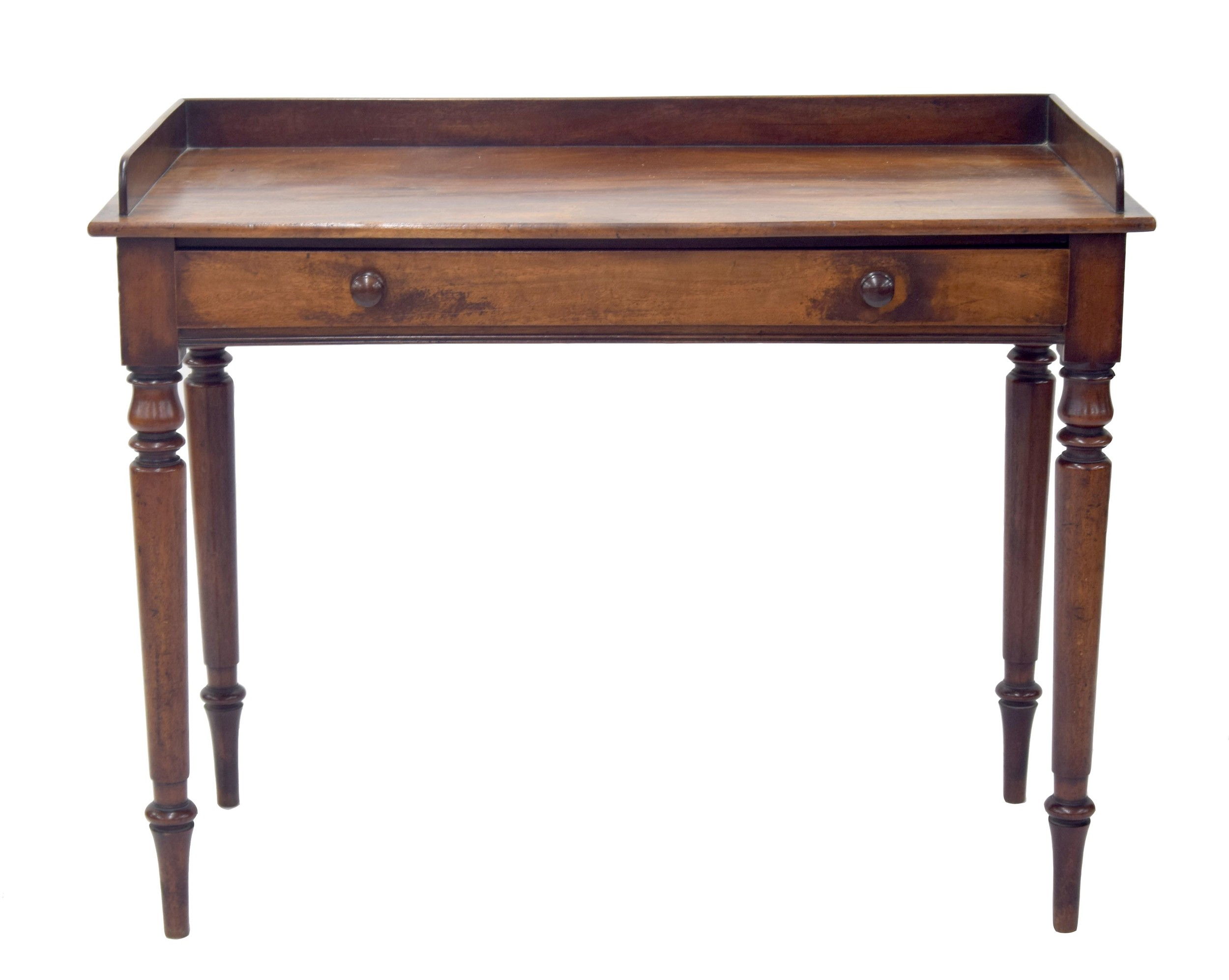 """Victorianmahogany washstand/writing table, with a single frieze drawer and upon turned legs,42"""""""