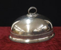 """Walker & Hall, Sheffield large oval silver plated meat cover with a cast beadwork handle, 11"""" high"""