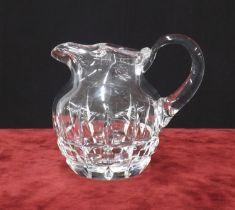 "Saint-Louis heavy cut glass water jug, etchedmark, 7.5"" high"