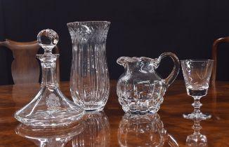 "Impressive cut glass pedestal vase, 12"" high; ship's decanter with engraved crest and inscription,"