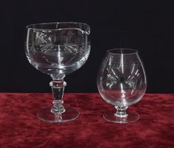 Large stemmed decanting glass and matching breathing/brandy glass (2)