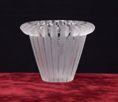 """Lalique 'Royat' frosted glass vase, signed 6.25"""" high"""