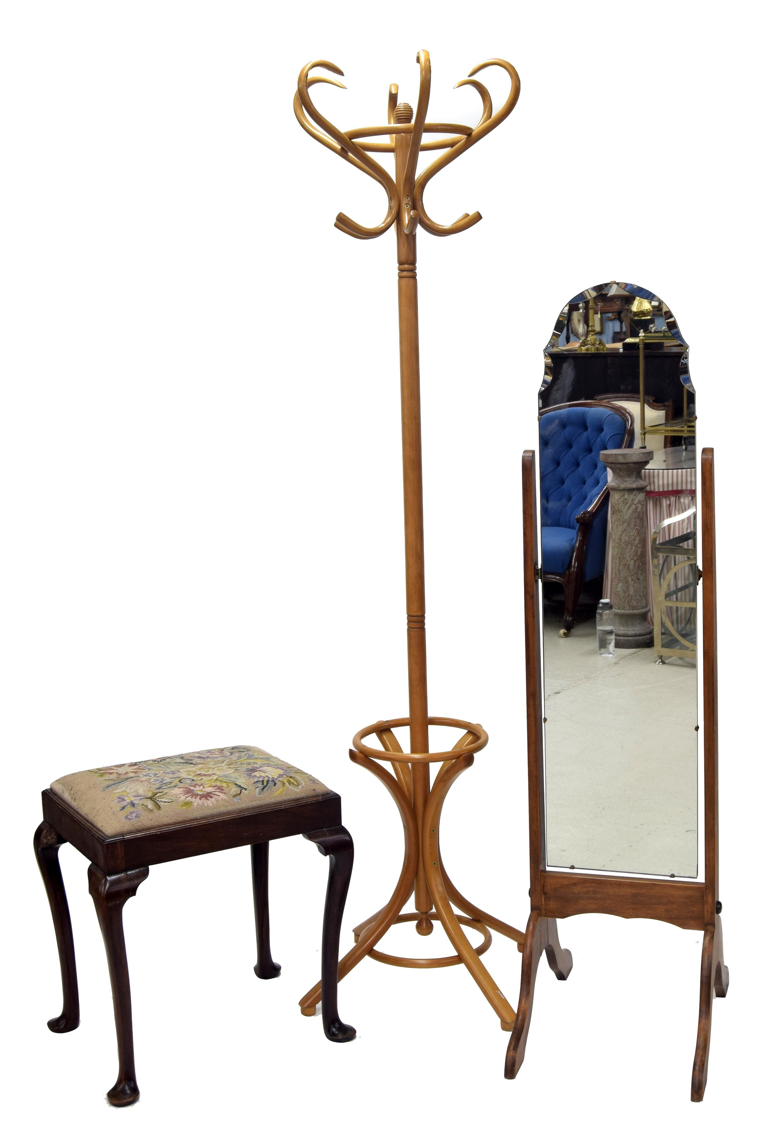 """Thonet style bentwood coat and hat stand, 77"""" high; with a cheval dressing mirror, 59"""" high and a"""