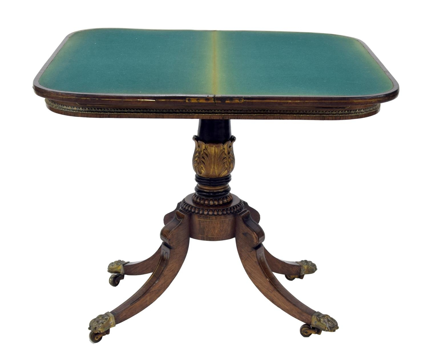 Regency rosewood fold-over games table, the crossbanded top applied with cast gilt metal mounts to - Image 2 of 2