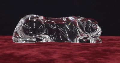 Baccarat crystal model of a recumbent panther, of stylised angular form, signed Baccarat to the