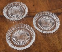 """Three Baccarat moulded glass wine coasters, 5.5"""" diameter (3)"""