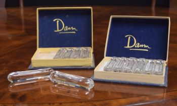 """Two sets of six Daum clear glass knife rests, circa1950s, 3.75"""" long in the original boxes"""