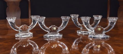 """Set of four Val St Lambert crystal twin-branch candlesticks, signed, 4.5"""" high, 8"""" wide (4)"""