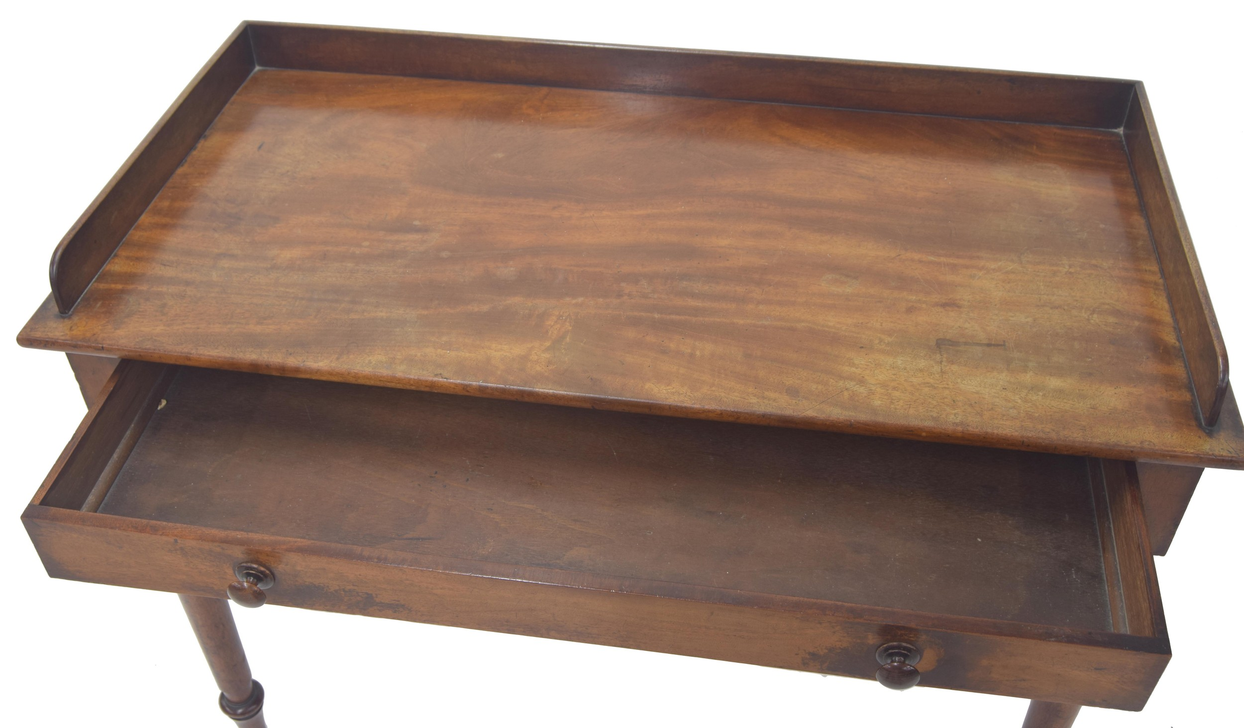 """Victorianmahogany washstand/writing table, with a single frieze drawer and upon turned legs,42"""" - Image 2 of 2"""