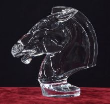 """Sevres clear crystal sculpture of a horse's head, signed, 11.5"""" high"""