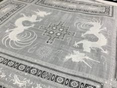 Large Chinese dragon table cloth, late 19th century,fine white linen cloth with elaborate drawn
